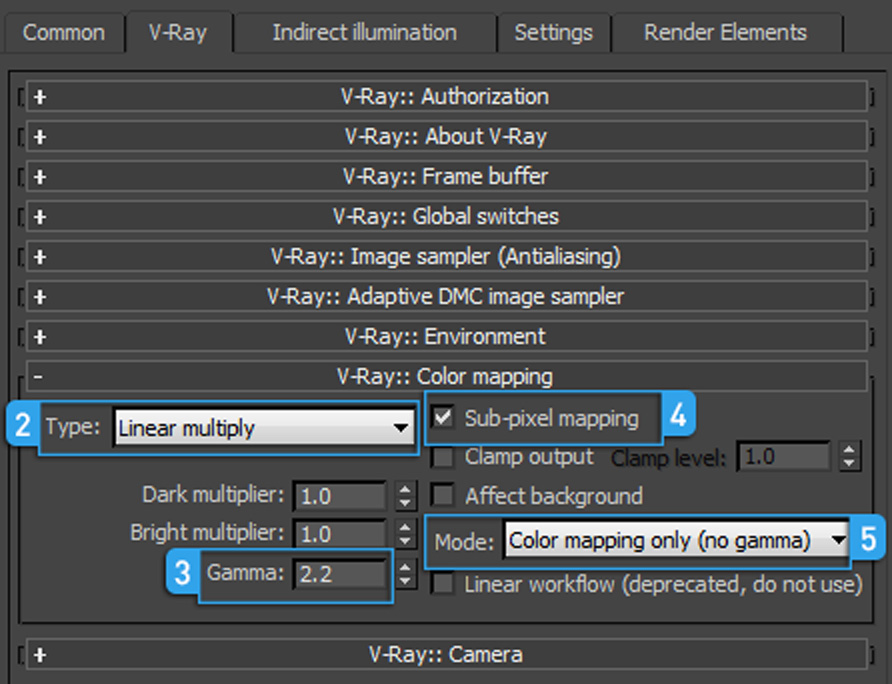 Vray 2.4 settings linear workflow