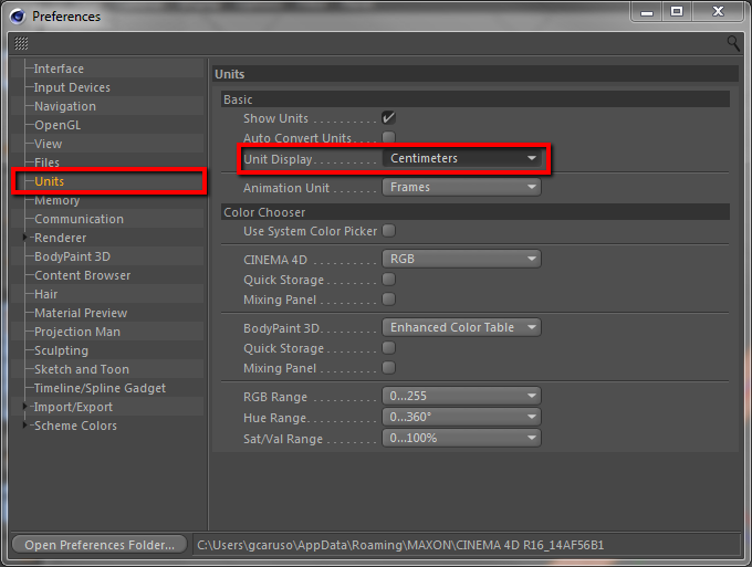 how to set up units in Cinema 4D