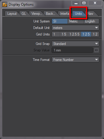 how to set up units in LightWave