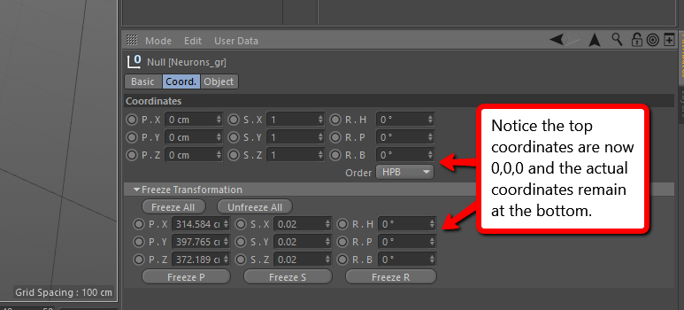 Resetting Transforms in Cinema 4D