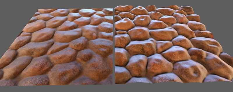 Normal maps versus parallax maps for 3D modeling.